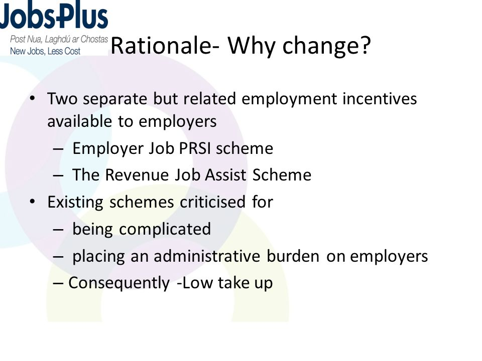 Rationale- Why change.