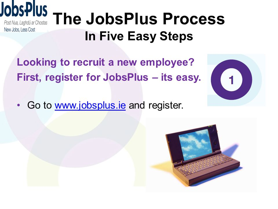 The JobsPlus Process In Five Easy Steps Looking to recruit a new employee? First, register for JobsPlus – its easy. Go to www.jobsplus.ie and register