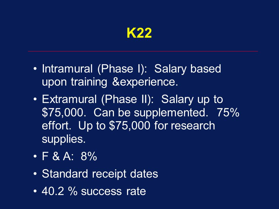 K22 Intramural (Phase I): Salary based upon training &experience. Extramural (Phase II): Salary up to $75,000. Can be supplemented. 75% effort. Up to