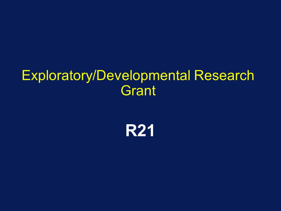 Exploratory/Developmental Research Grant R21