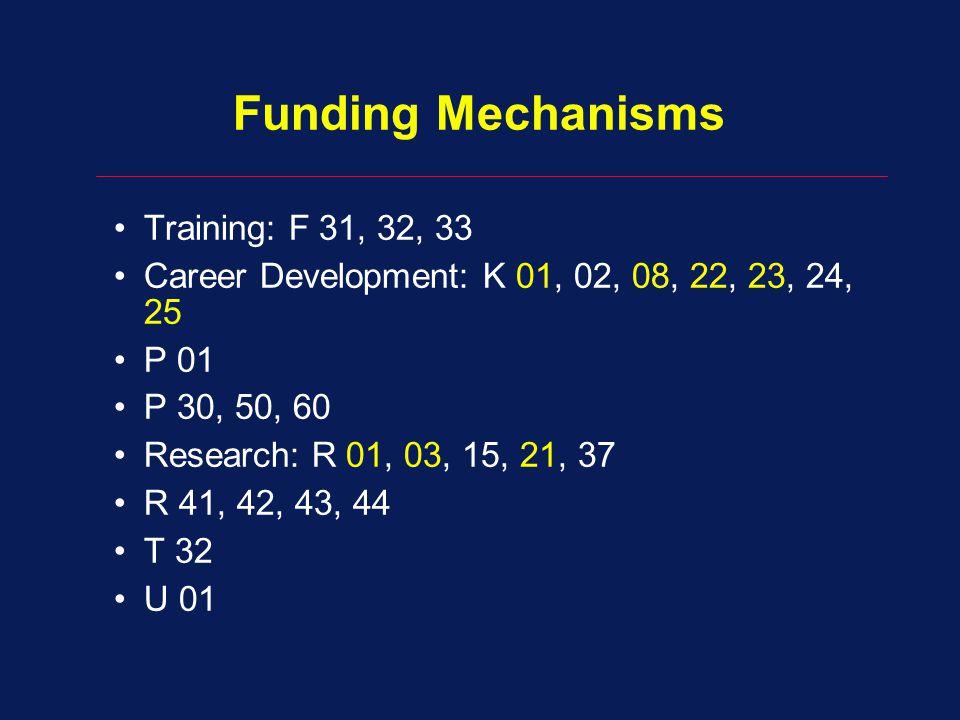 Funding Mechanisms Training: F 31, 32, 33 Career Development: K 01, 02, 08, 22, 23, 24, 25 P 01 P 30, 50, 60 Research: R 01, 03, 15, 21, 37 R 41, 42, 43, 44 T 32 U 01