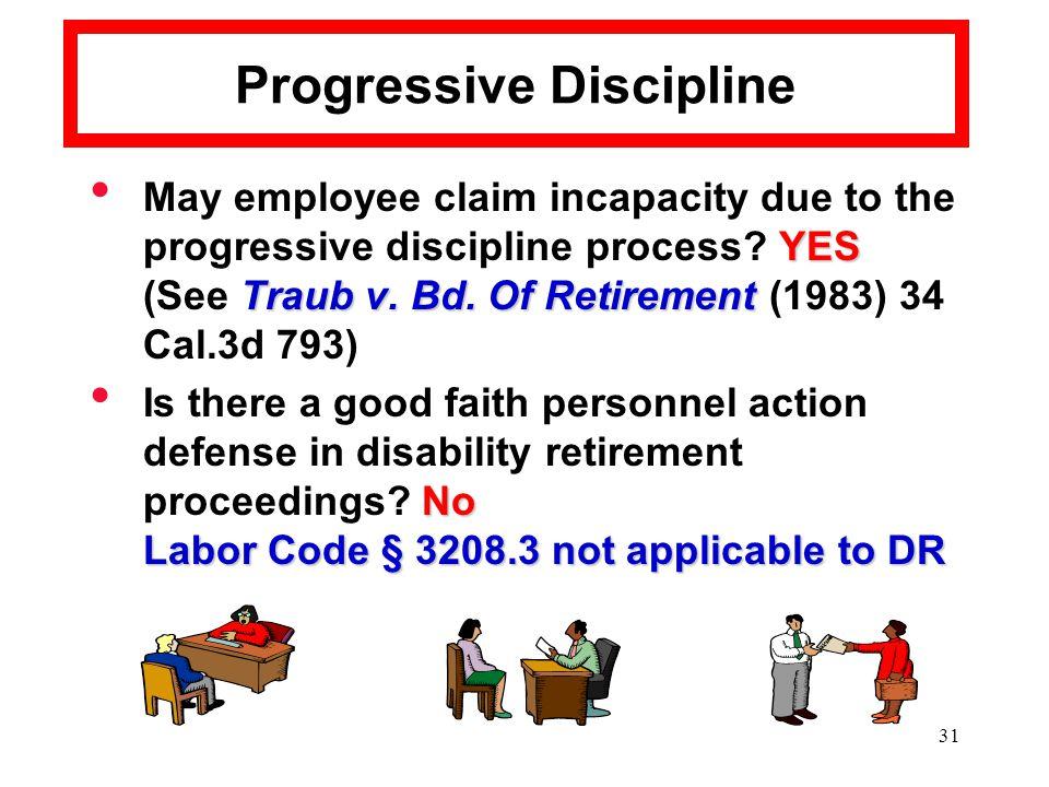 31 Progressive Discipline YES May employee claim incapacity due to the progressive discipline process.