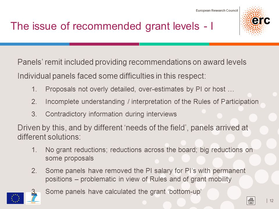 European Research Council │ 12 The issue of recommended grant levels - I Panels' remit included providing recommendations on award levels Individual panels faced some difficulties in this respect: 1.Proposals not overly detailed, over-estimates by PI or host … 2.Incomplete understanding / interpretation of the Rules of Participation 3.Contradictory information during interviews Driven by this, and by different 'needs of the field', panels arrived at different solutions: 1.No grant reductions; reductions across the board; big reductions on some proposals 2.Some panels have removed the PI salary for PI's with permanent positions – problematic in view of Rules and of grant mobility 3.Some panels have calculated the grant 'bottom-up'