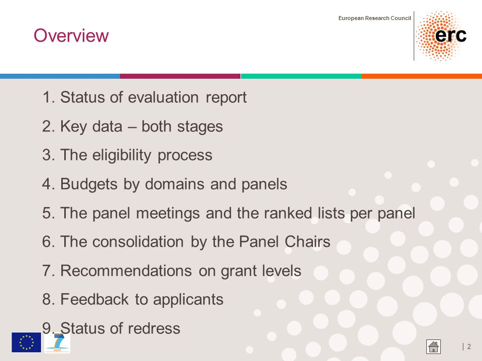 European Research Council │ 2 Overview 1.Status of evaluation report 2.Key data – both stages 3.The eligibility process 4.Budgets by domains and panels 5.The panel meetings and the ranked lists per panel 6.The consolidation by the Panel Chairs 7.Recommendations on grant levels 8.Feedback to applicants 9.Status of redress