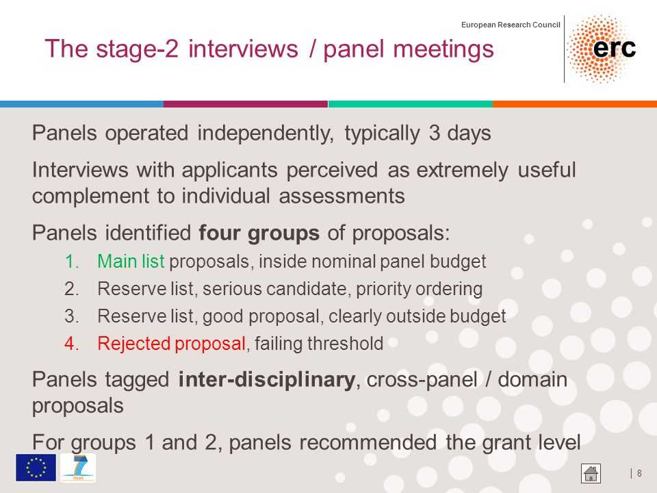 European Research Council │ 9 The panel chair consolidation meeting Purpose of the meeting: to establish a consolidated ranking of the serious candidate reserve (group 2) proposals 1.With special emphasis on inter-disciplinary proposals 2.Given 20 panels across all scientific fields, not a trivial affair ….