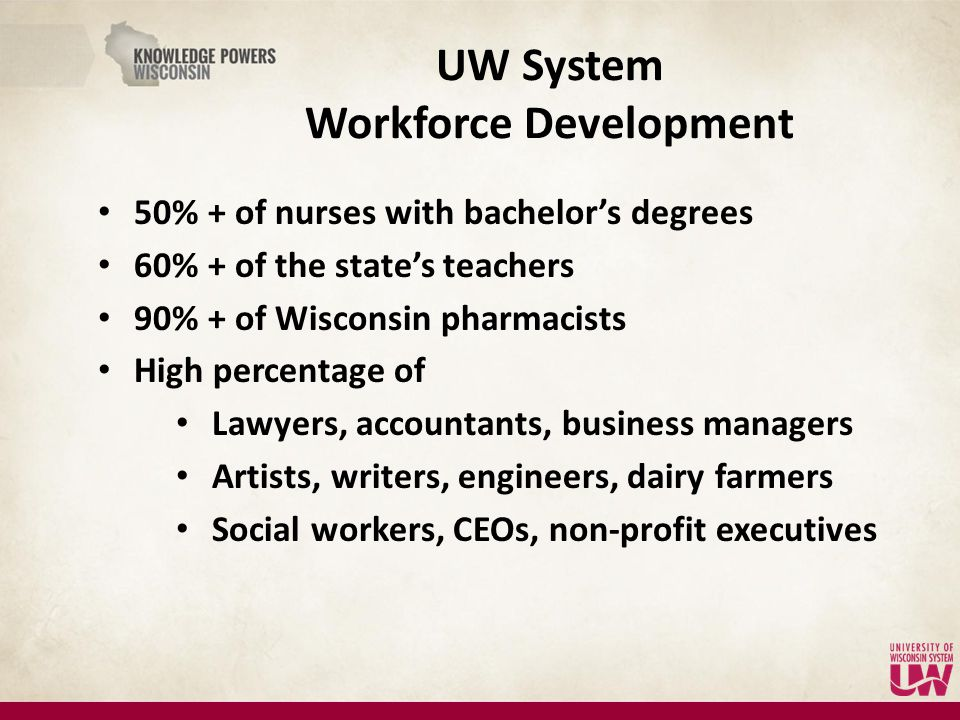 50% + of nurses with bachelor's degrees 60% + of the state's teachers 90% + of Wisconsin pharmacists High percentage of Lawyers, accountants, business