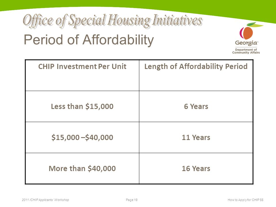 Page 19 2011 /CHIP Applicants' WorkshopHow to Apply for CHIP $$ Period of Affordability CHIP Investment Per UnitLength of Affordability Period Less than $15,0006 Years $15,000 –$40,00011 Years More than $40,00016 Years