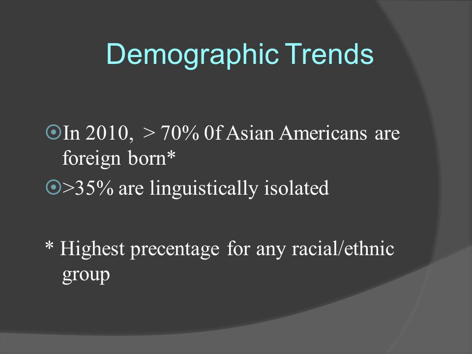 Demographic Trends  In 2010, > 70% 0f Asian Americans are foreign born*  >35% are linguistically isolated * Highest precentage for any racial/ethnic