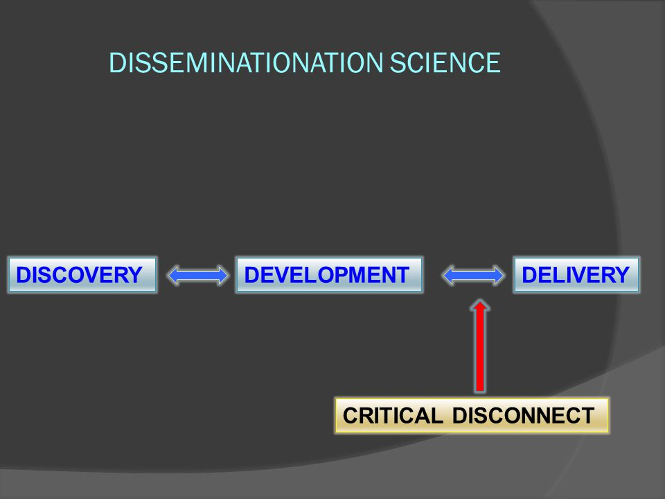 DISSEMINATIONATION SCIENCE DISCOVERYDEVELOPMENTDELIVERY CRITICAL DISCONNECT