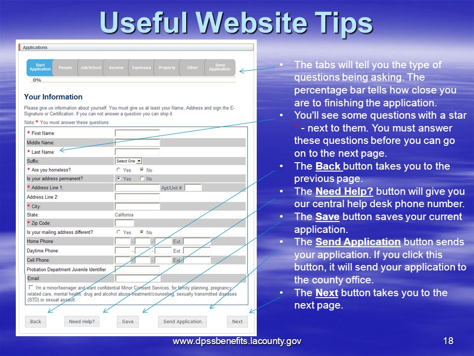 www.dpssbenefits.lacounty.gov 18 Useful Website Tips The tabs will tell you the type of questions being asking.