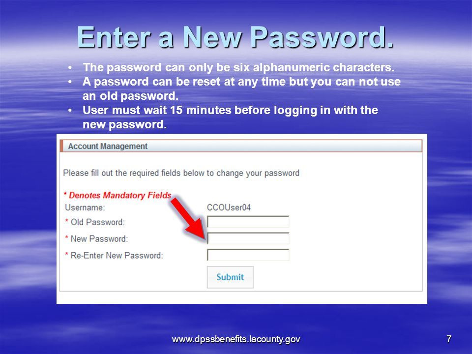 Enter a New Password.