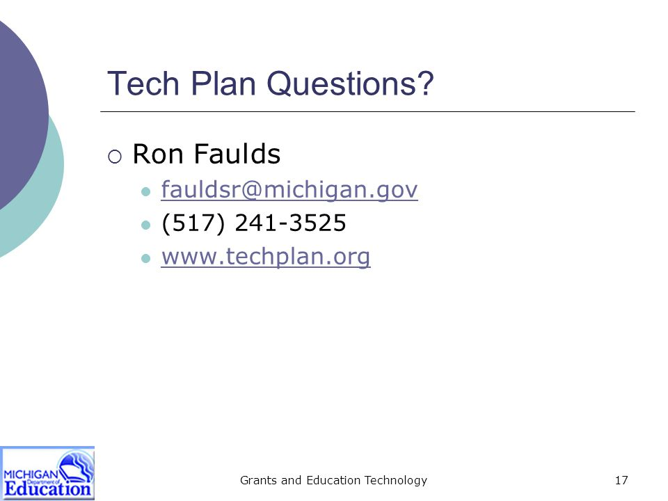Grants and Education Technology17 Tech Plan Questions.
