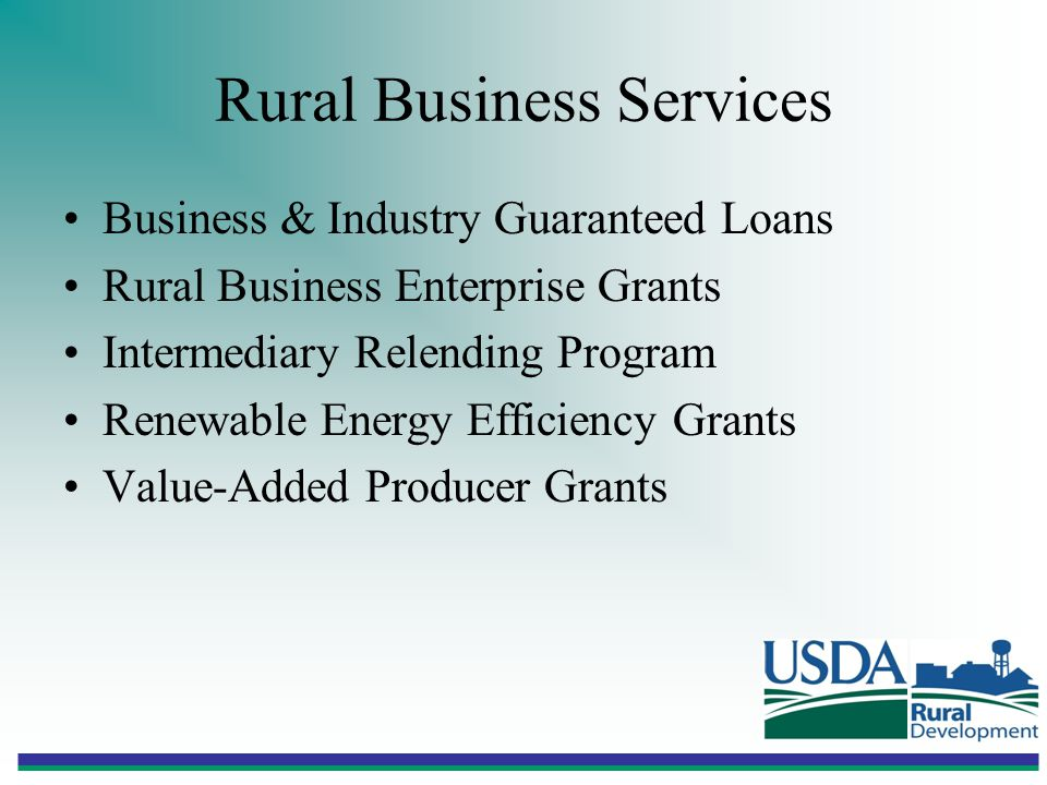Rural Business Services Business & Industry Guaranteed Loans Rural Business Enterprise Grants Intermediary Relending Program Renewable Energy Efficiency Grants Value-Added Producer Grants