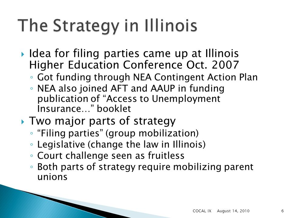  Idea for filing parties came up at Illinois Higher Education Conference Oct.