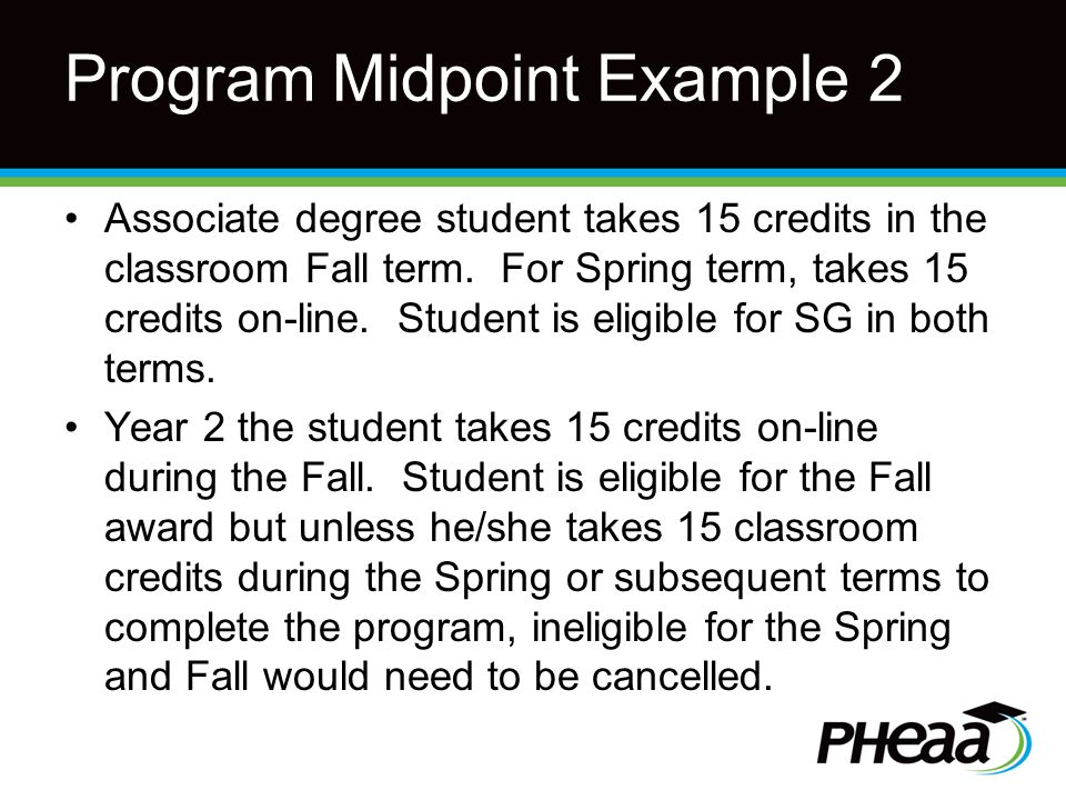 Program Midpoint Example 2 Associate degree student takes 15 credits in the classroom Fall term.