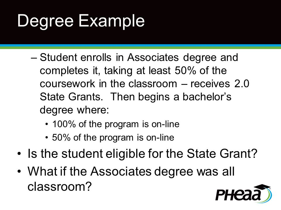 Degree Example –Student enrolls in Associates degree and completes it, taking at least 50% of the coursework in the classroom – receives 2.0 State Grants.