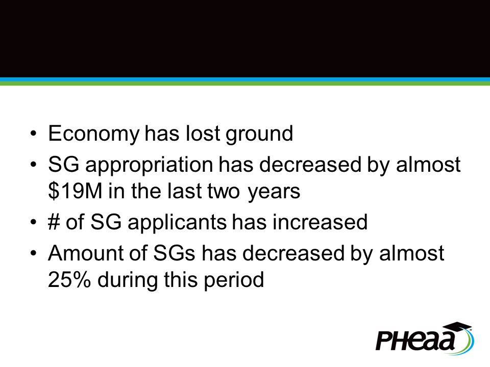 Economy has lost ground SG appropriation has decreased by almost $19M in the last two years # of SG applicants has increased Amount of SGs has decreased by almost 25% during this period