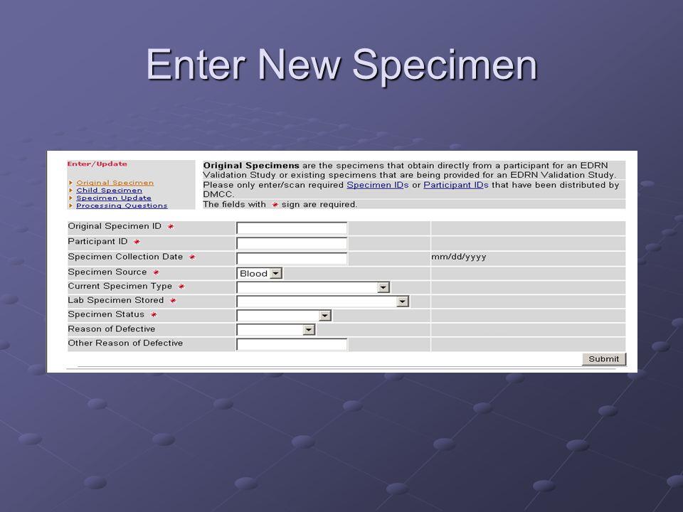 Enter New Specimen