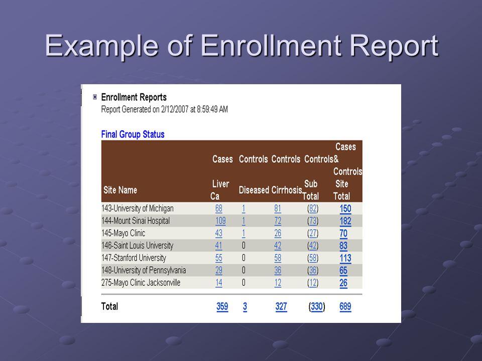 Example of Enrollment Report