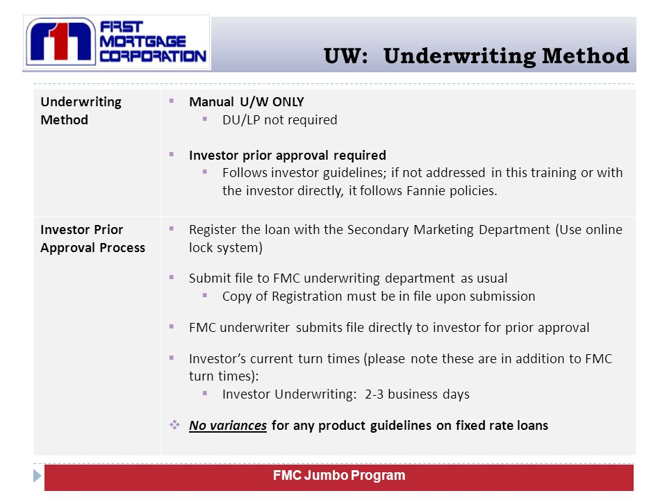 UW: Underwriting Method Underwriting Method  Manual U/W ONLY  DU/LP not required  Investor prior approval required  Follows investor guidelines; i