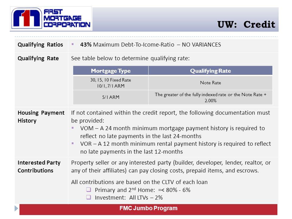 FMC Jumbo Program UW: Credit Qualifying Ratios  43% Maximum Debt-To-Icome-Ratio – NO VARIANCES Qualifying RateSee table below to determine qualifying