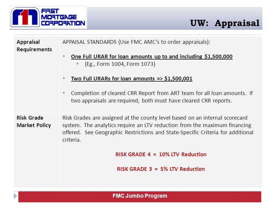 FMC Jumbo Program UW: Appraisal Appraisal Requirements APPAISAL STANDARDS (Use FMC AMC's to order appraisals):  One Full URAR for loan amounts up to