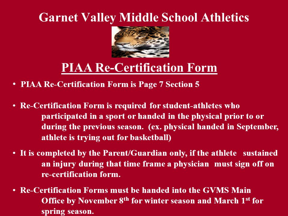 Garnet Valley Middle School Athletics Concussion/Act 59 (sudden cardiac arrest syndrome) PA Youth and Safety Act- Concussion Law Calls for the following: Calls for the following: -Coaches, staff, students, parents to be educated yearly about head injuries.