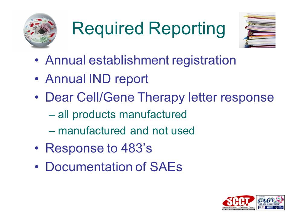 Required Reporting Annual establishment registration Annual IND report Dear Cell/Gene Therapy letter response –all products manufactured –manufactured and not used Response to 483's Documentation of SAEs