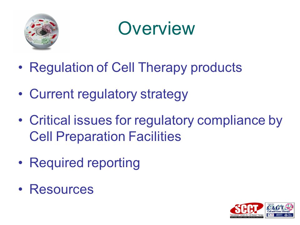 Overview Regulation of Cell Therapy products Current regulatory strategy Critical issues for regulatory compliance by Cell Preparation Facilities Required reporting Resources