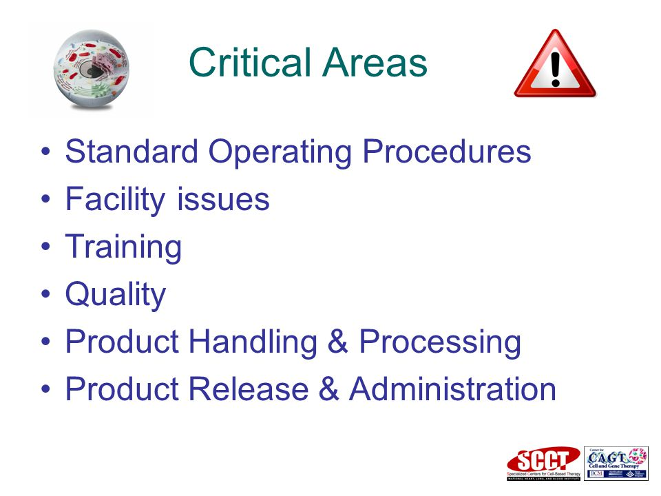 Critical Areas Standard Operating Procedures Facility issues Training Quality Product Handling & Processing Product Release & Administration