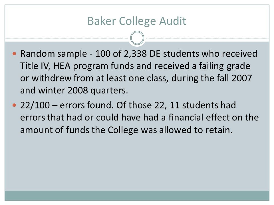 Baker College Audit Random sample - 100 of 2,338 DE students who received Title IV, HEA program funds and received a failing grade or withdrew from at