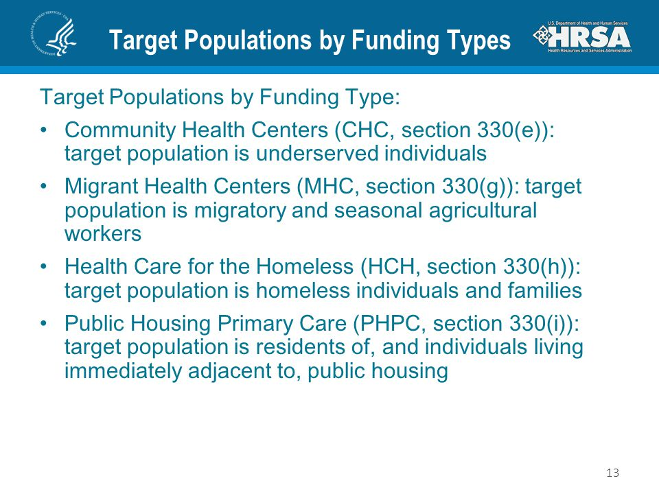 Target Populations by Funding Types Target Populations by Funding Type: Community Health Centers (CHC, section 330(e)): target population is underserv