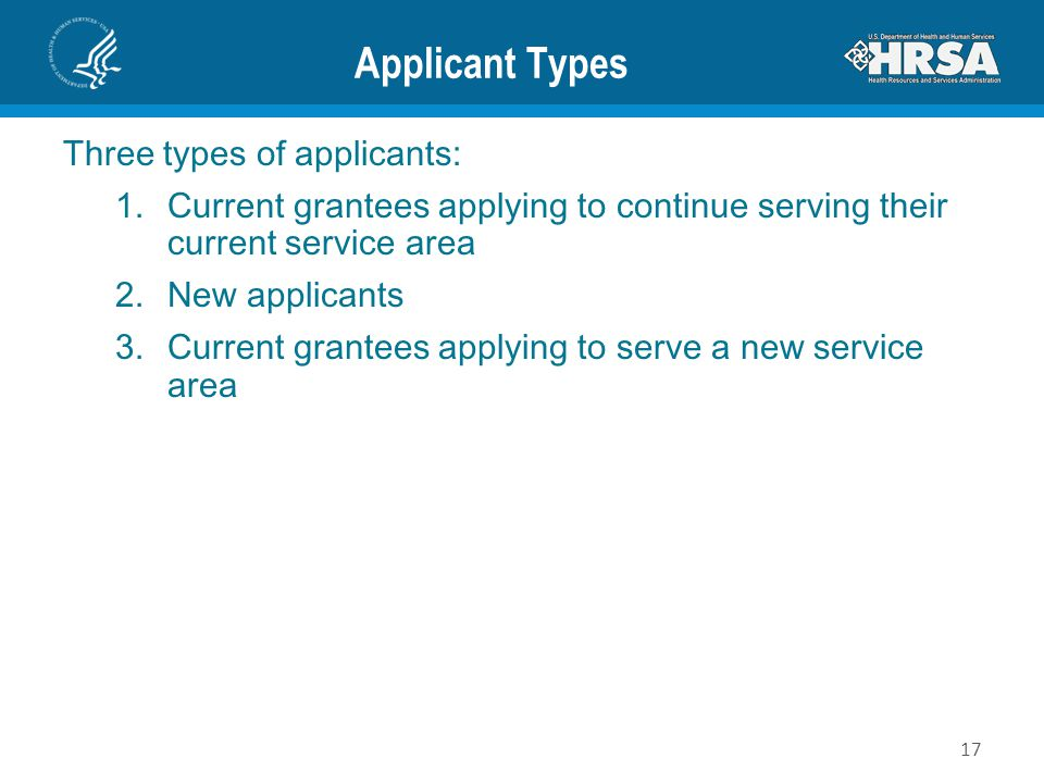 Applicant Types Three types of applicants: 1.Current grantees applying to continue serving their current service area 2.New applicants 3.Current grant