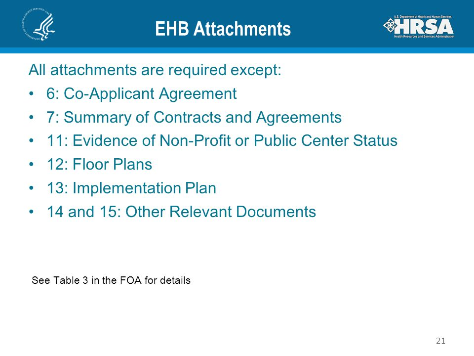 EHB Attachments All attachments are required except: 6: Co-Applicant Agreement 7: Summary of Contracts and Agreements 11: Evidence of Non-Profit or Pu