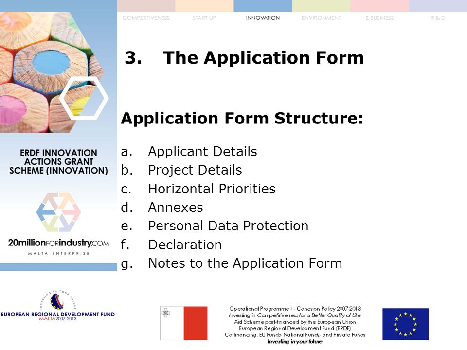 3.The Application Form Application Form Structure: a.Applicant Details b.Project Details c.Horizontal Priorities d.Annexes e.Personal Data Protection f.Declaration g.Notes to the Application Form