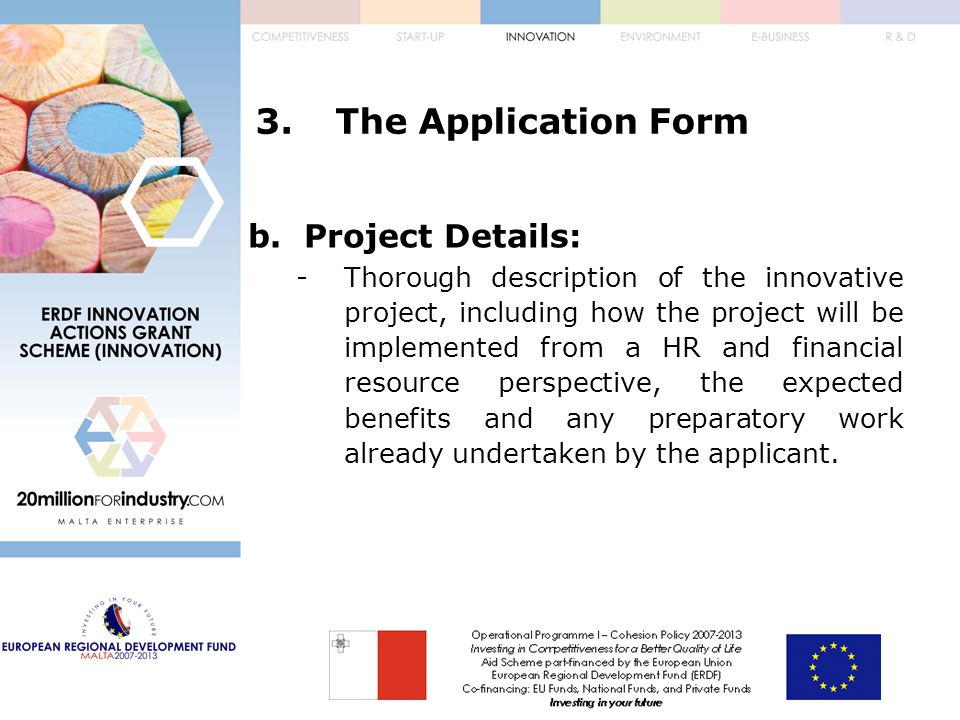 3.The Application Form b.Project Details: -Thorough description of the innovative project, including how the project will be implemented from a HR and financial resource perspective, the expected benefits and any preparatory work already undertaken by the applicant.