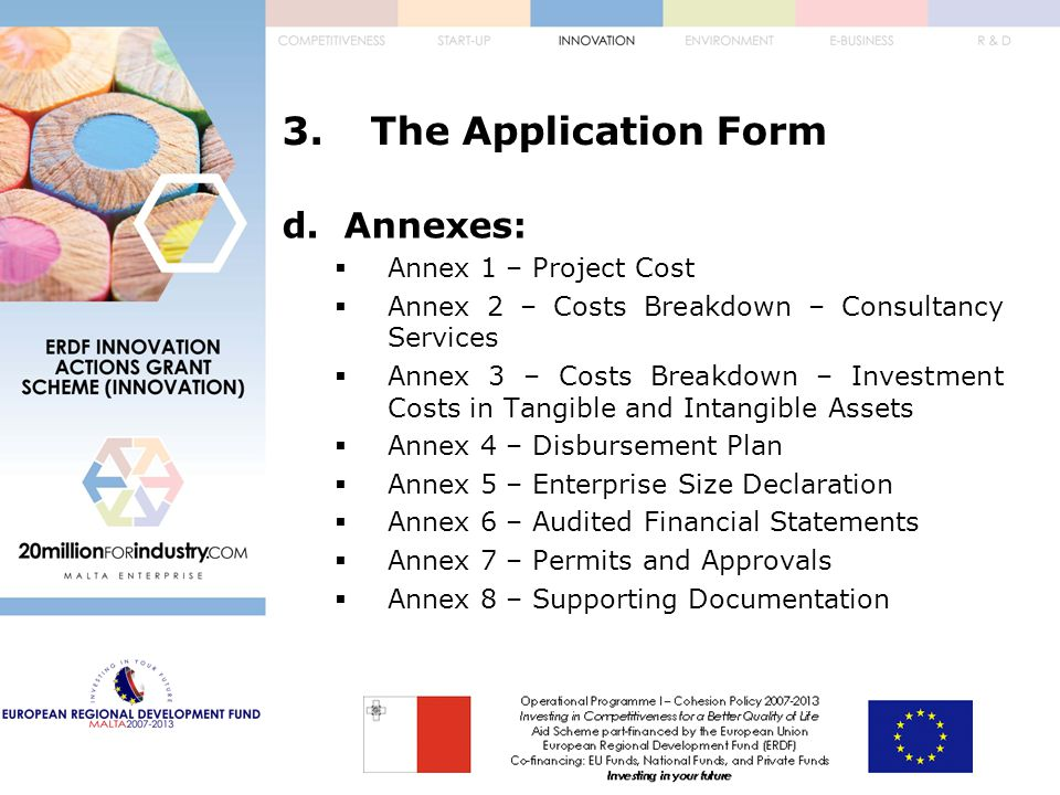 3.The Application Form d.Annexes:  Annex 1 – Project Cost  Annex 2 – Costs Breakdown – Consultancy Services  Annex 3 – Costs Breakdown – Investment Costs in Tangible and Intangible Assets  Annex 4 – Disbursement Plan  Annex 5 – Enterprise Size Declaration  Annex 6 – Audited Financial Statements  Annex 7 – Permits and Approvals  Annex 8 – Supporting Documentation