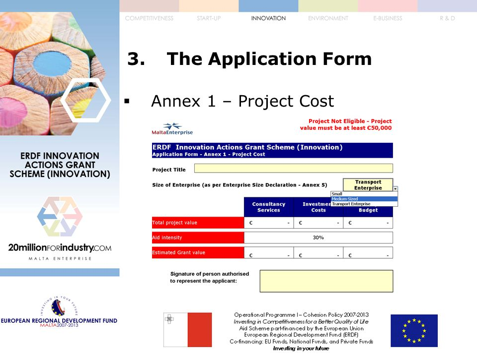 3.The Application Form  Annex 1 – Project Cost