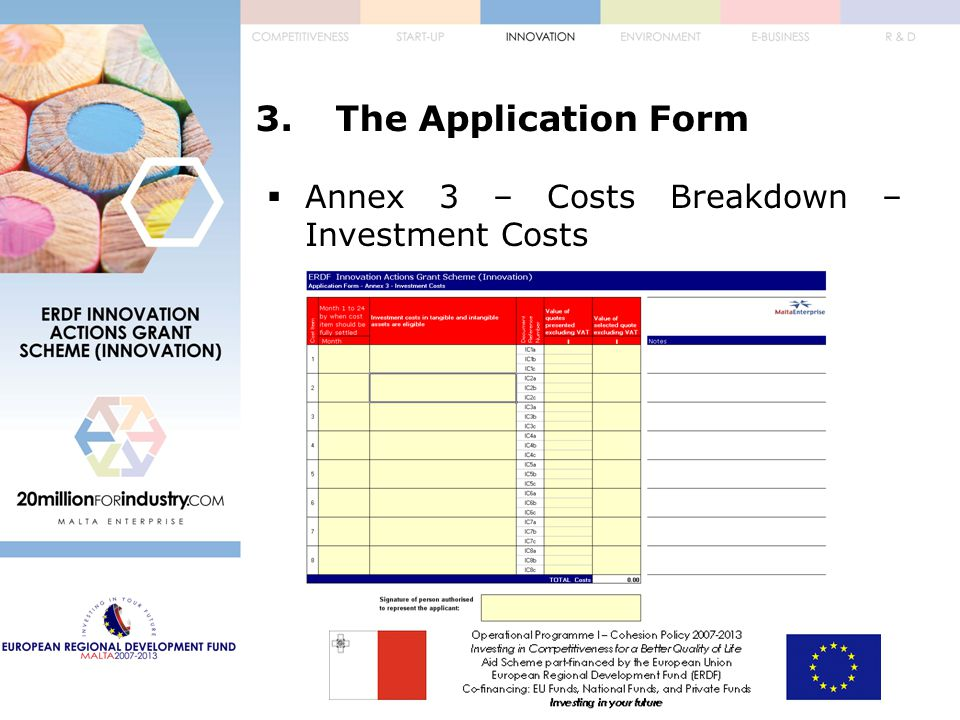 3.The Application Form  Annex 3 – Costs Breakdown – Investment Costs