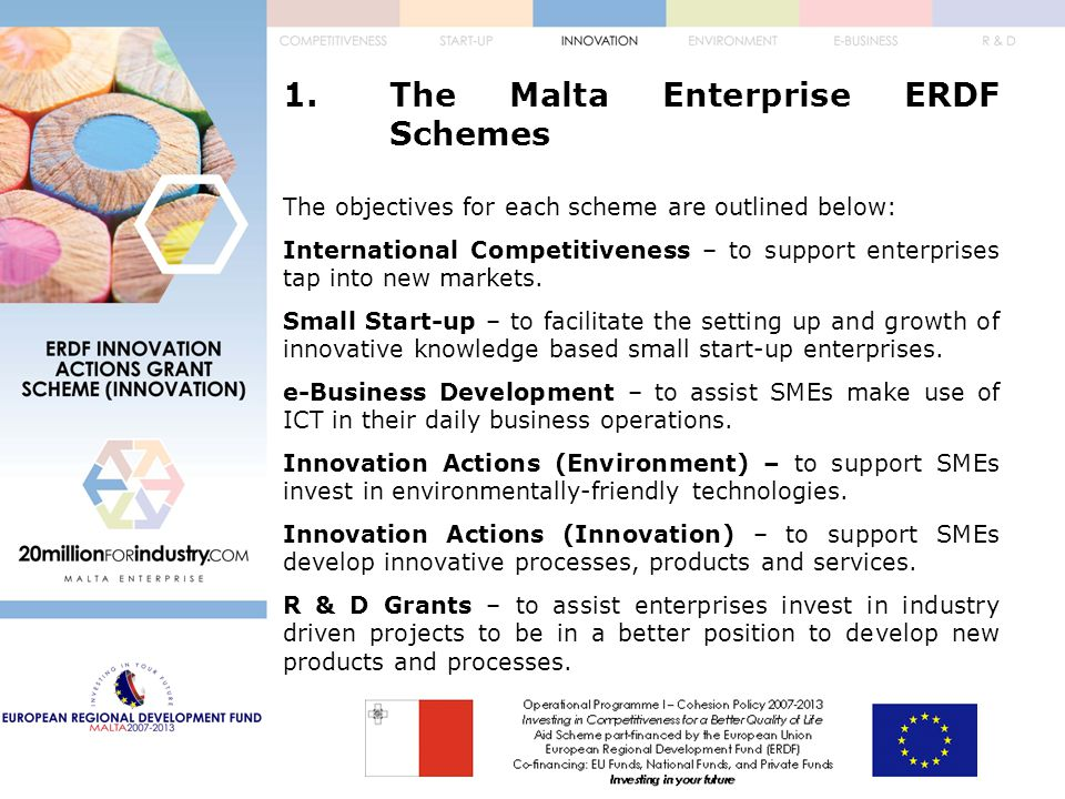 3.The Application Form d.Annexes:  Annex 1 – Project Cost  Annex 2 – Costs Breakdown – Consultancy Services  Annex 3 – Costs Breakdown – Investment Costs in Tangible and Intangible Assets  Annex 4 – Disbursement Plan  Annex 5 – Enterprise Size Declaration  Annex 6 – Audited Financial Statements  Annex 7 – Permits and Approvals  Annex 8 – Supporting Documentation