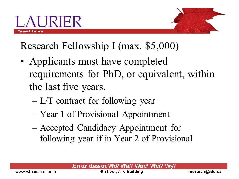 Research Fellowship I (max.