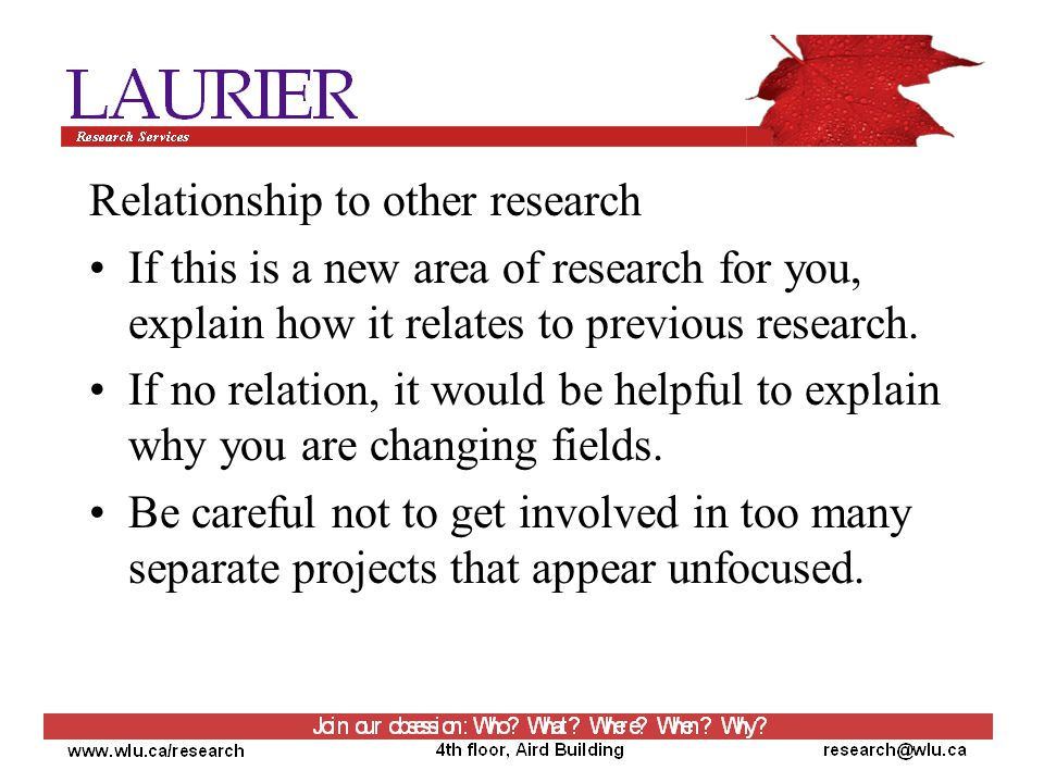 Relationship to other research If this is a new area of research for you, explain how it relates to previous research.