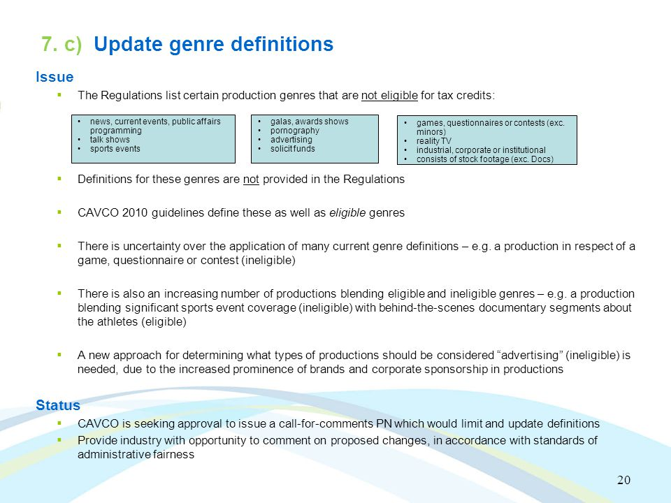 20 7. c) Update genre definitions Issue  The Regulations list certain production genres that are not eligible for tax credits:  Definitions for thes