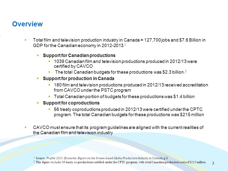 3 Overview  Total film and television production industry in Canada = 127,700 jobs and $7.6 Billion in GDP for the Canadian economy in 2012-2013.