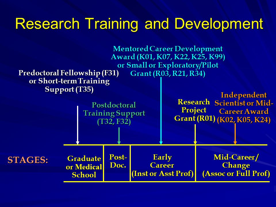 Postdoctoral Training Support (T32, F32) Research Training and Development Mentored Career Development Award (K01, K07, K22, K25, K99) or Small or Exploratory/Pilot Grant (R03, R21, R34) STAGES: Graduate or Medical School Post-Doc.EarlyCareer (Inst or Asst Prof) Mid-Career / Change (Assoc or Full Prof) Predoctoral Fellowship (F31) or Short-term Training Support (T35) Independent Scientist or Mid- Career Award (K02, K05, K24) ResearchProject Grant (R01)