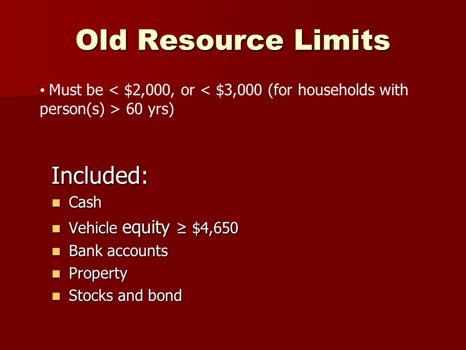 Old Resource Limits Included: Cash Cash Vehicle equity ≥ $4,650 Vehicle equity ≥ $4,650 Bank accounts Bank accounts Property Property Stocks and bond