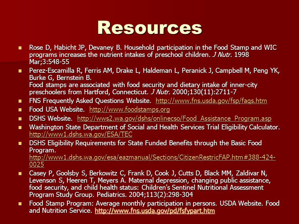 Resources Rose D, Habicht JP, Devaney B.
