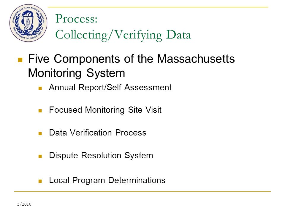 5/2010 Process: Collecting/Verifying Data Five Components of the Massachusetts Monitoring System Annual Report/Self Assessment Focused Monitoring Site Visit Data Verification Process Dispute Resolution System Local Program Determinations