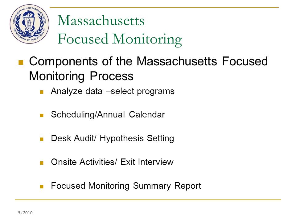 5/2010 Massachusetts Focused Monitoring Components of the Massachusetts Focused Monitoring Process Analyze data –select programs Scheduling/Annual Calendar Desk Audit/ Hypothesis Setting Onsite Activities/ Exit Interview Focused Monitoring Summary Report