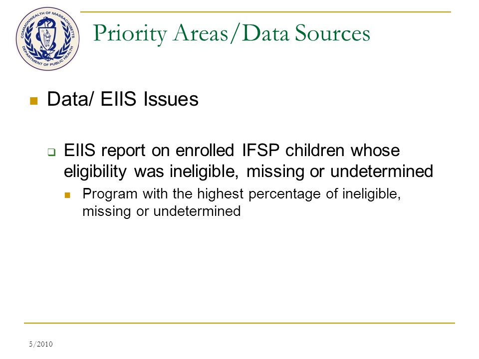5/2010 Priority Areas/Data Sources Data/ EIIS Issues  EIIS report on enrolled IFSP children whose eligibility was ineligible, missing or undetermined Program with the highest percentage of ineligible, missing or undetermined